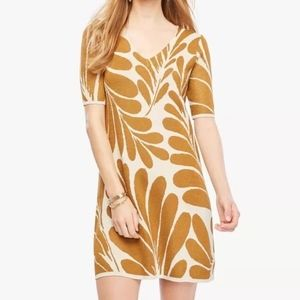 Ann Taylor Shimmer Leaf Petal V-Neck Sweater Dress